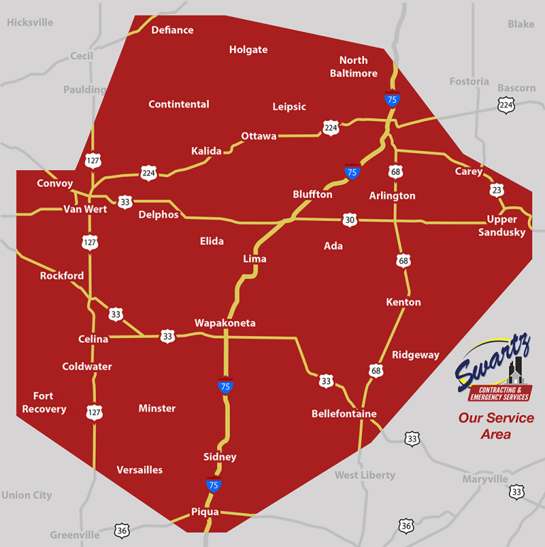 Swartz Contracting is able to repair property damage in northwest Ohio. Our service area is as far north as Defiance and as south as Piqua in Ohio. We service as far east as Upper Sandusky and as far west as Van Wert. To find out if you are in our service area give us a call.