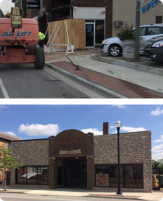 A before and after of a Vehicle Impact on a business. Swartz Contracting can repair damage done by vehicles or vandalism.