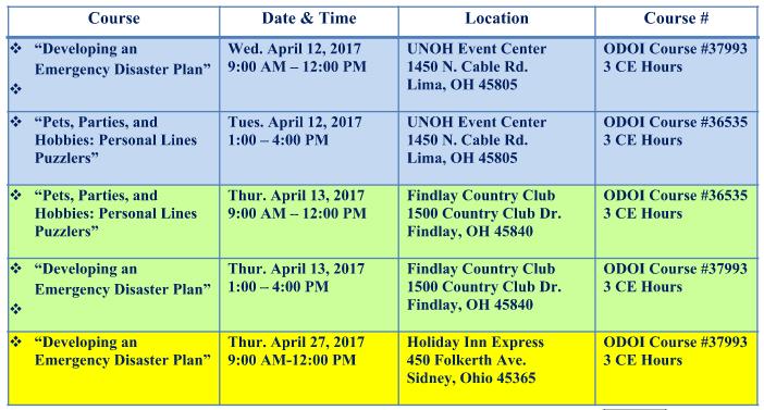Swartz Spring CE Class Schedule