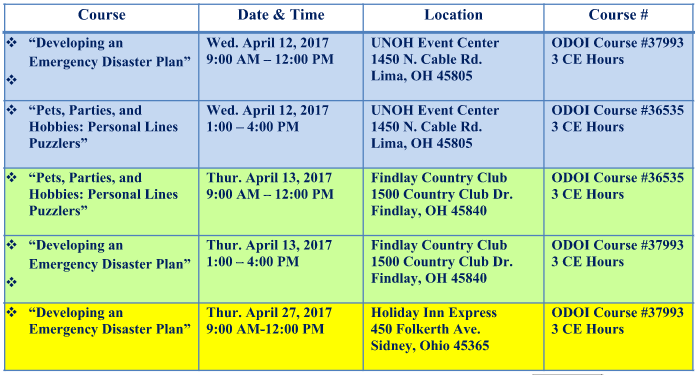 Spring CE Class Schedule