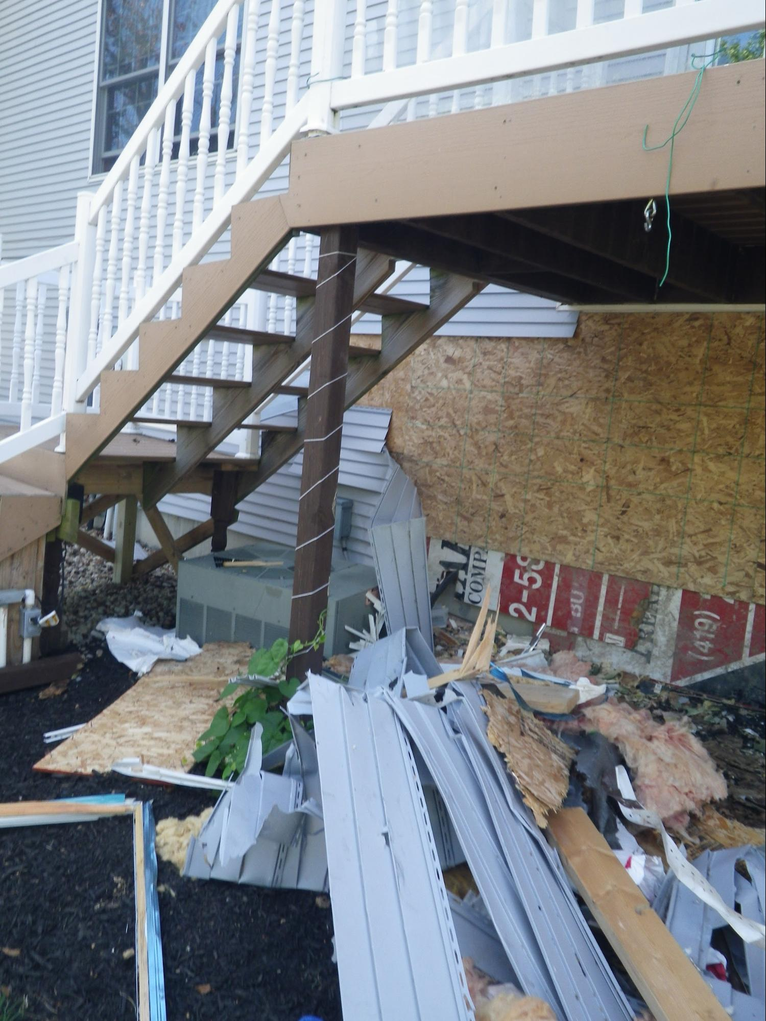 A Vehicle Impact on a home in the repair stages of restoration. Swartz Contracting can repair damage done by vehicles or vandalism.