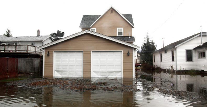 flooded neighborhood after heavy rain fall