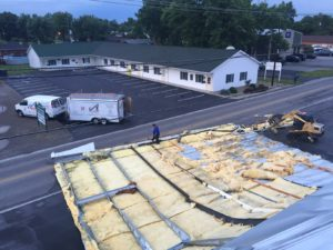 roof blew off commercial building during wind storm