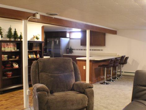 fire damage restoration basement living room after