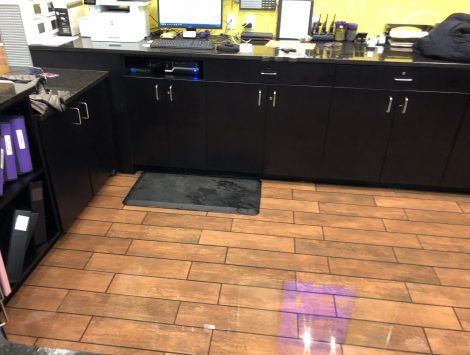 frozen pipe burst water damage behind counter